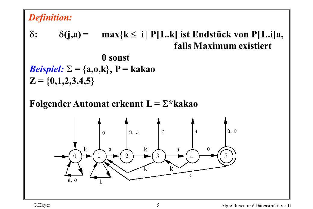 Definition: d: d(j,a) = max{k  i | P[1..k] ist Endstück von P[1..i]a, falls Maximum existiert.